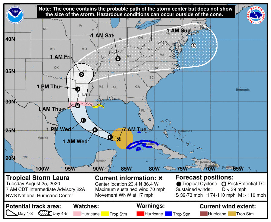 Laura 5-Day Cone | August 25, 2020, 8am ET
