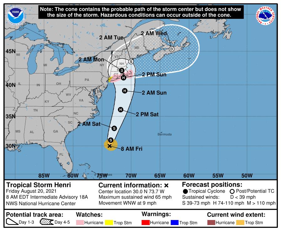Tropical Storm Henri Forecast Cone | August 20, 2021 8am EDT