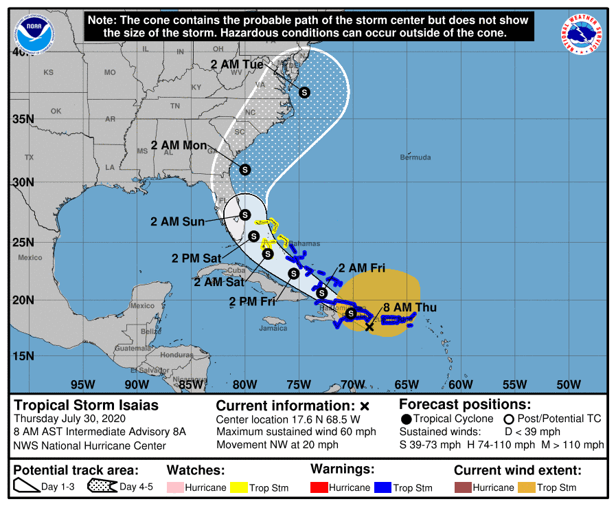 Tropical Storm Isaias Forecast Cone | July 30, 2020, 8AM AST