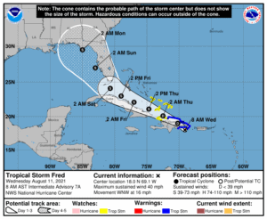 Tropical Storm Fred Forecast Cone | August 11, 2021 8:00am AST