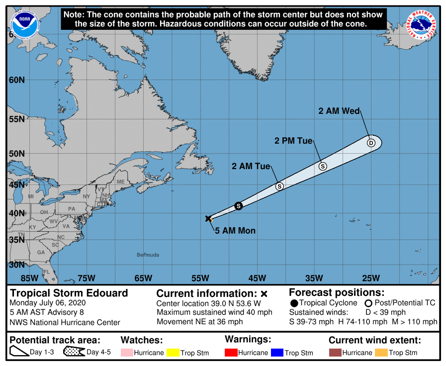 Tropical Storm Edouard Track - July 6, 2020, 5am AST