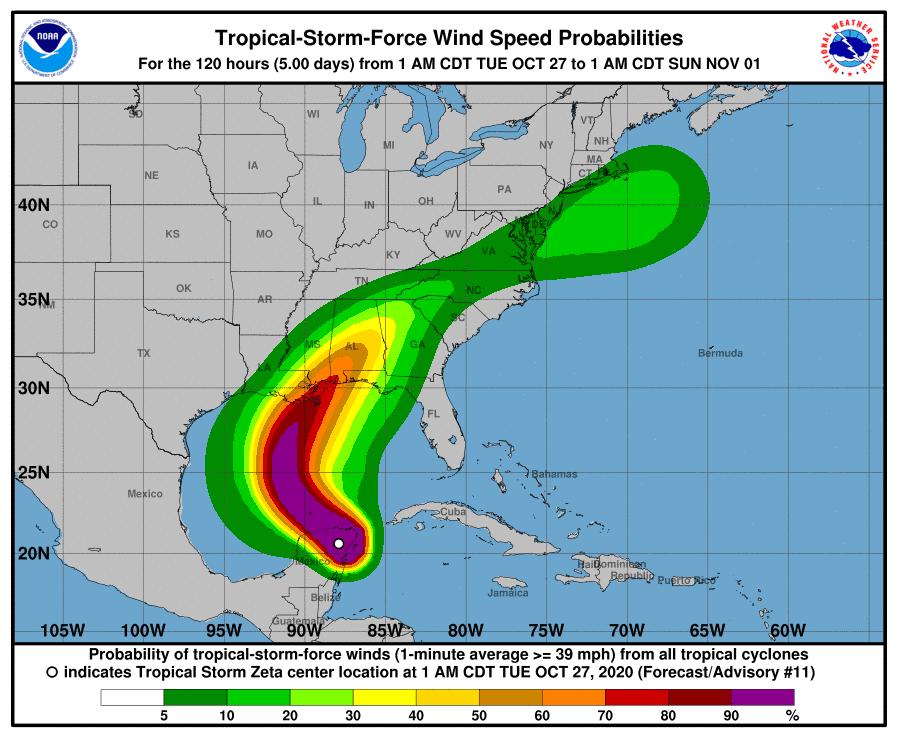 Zeta Tropical-Storm-Force Wind Speed Probabilities