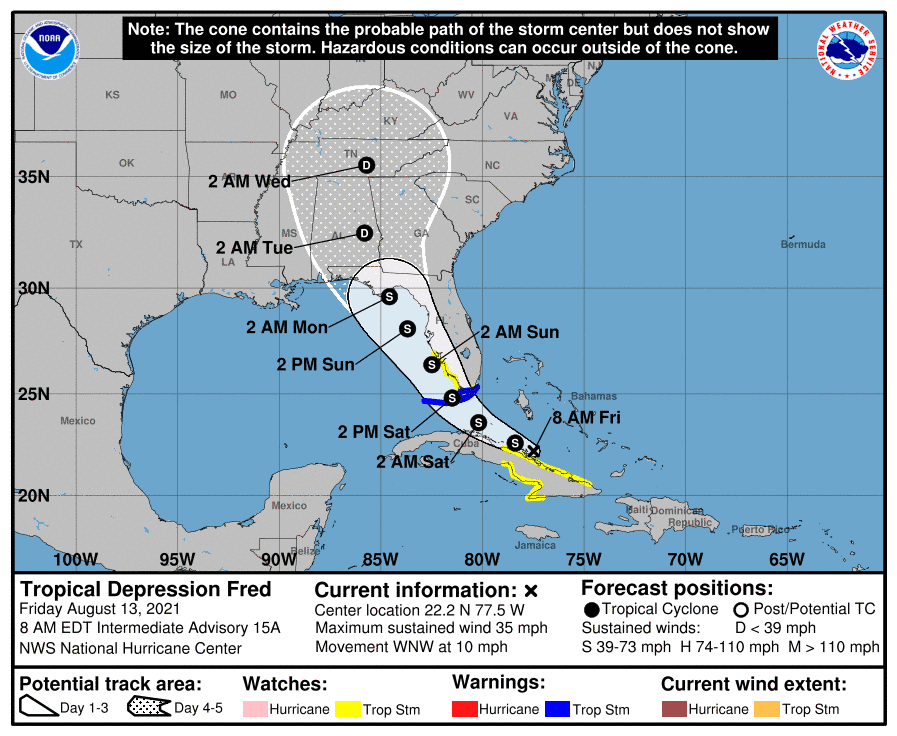 Tropical Depression Fred Forecast Cone   August 13, 2021 8am EDT
