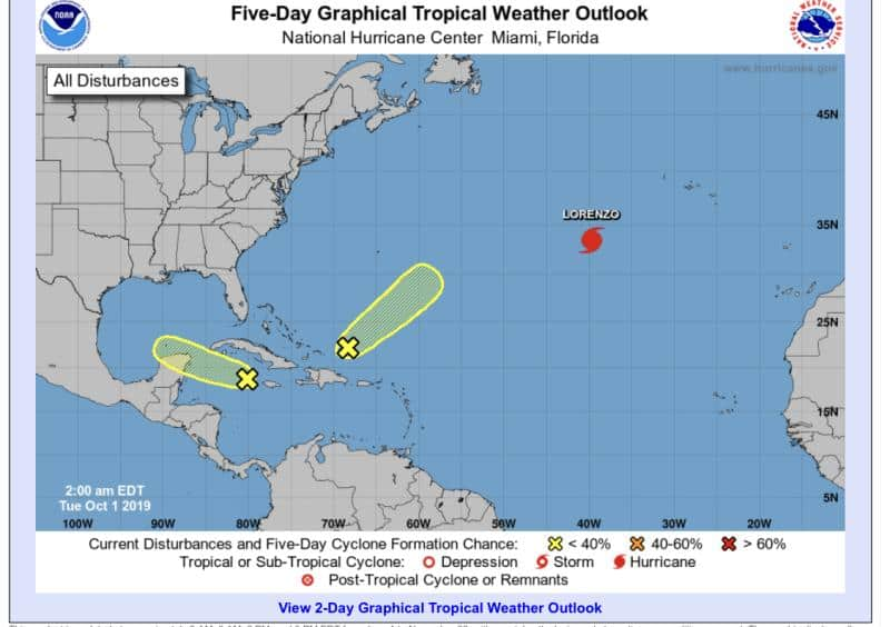 5-Day Tropical Outlook   October 1, 2019, 2am ET