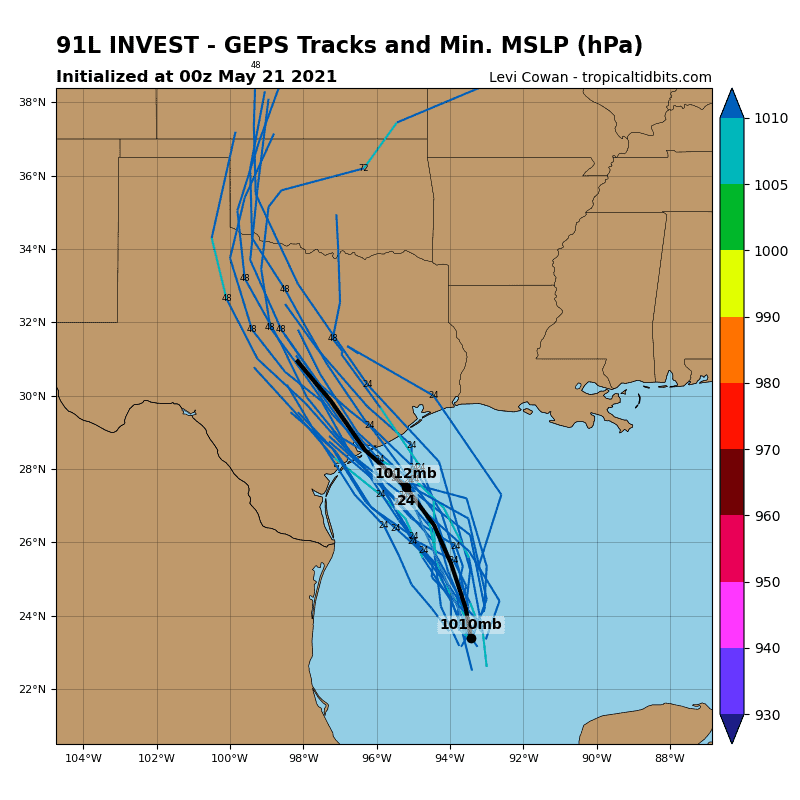 91L Invest - GEPS Tracks and Min. MSLP (hPa)