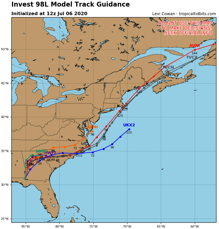 Invest 98L Model Track Guidance - July 6, 2020, 8am EDT