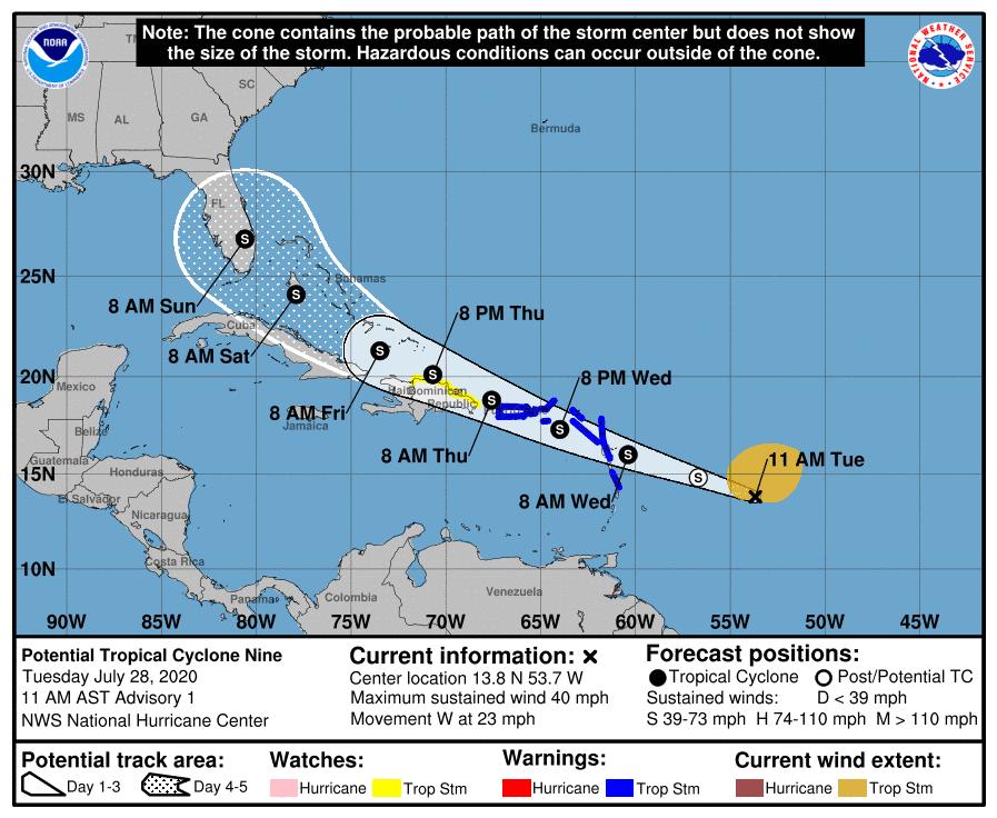 PTC 9 Forecast Track   July 28, 2020