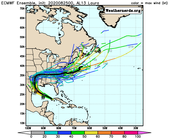 Laura ECMWF Ensemble | August 25, 2020, 5am ET