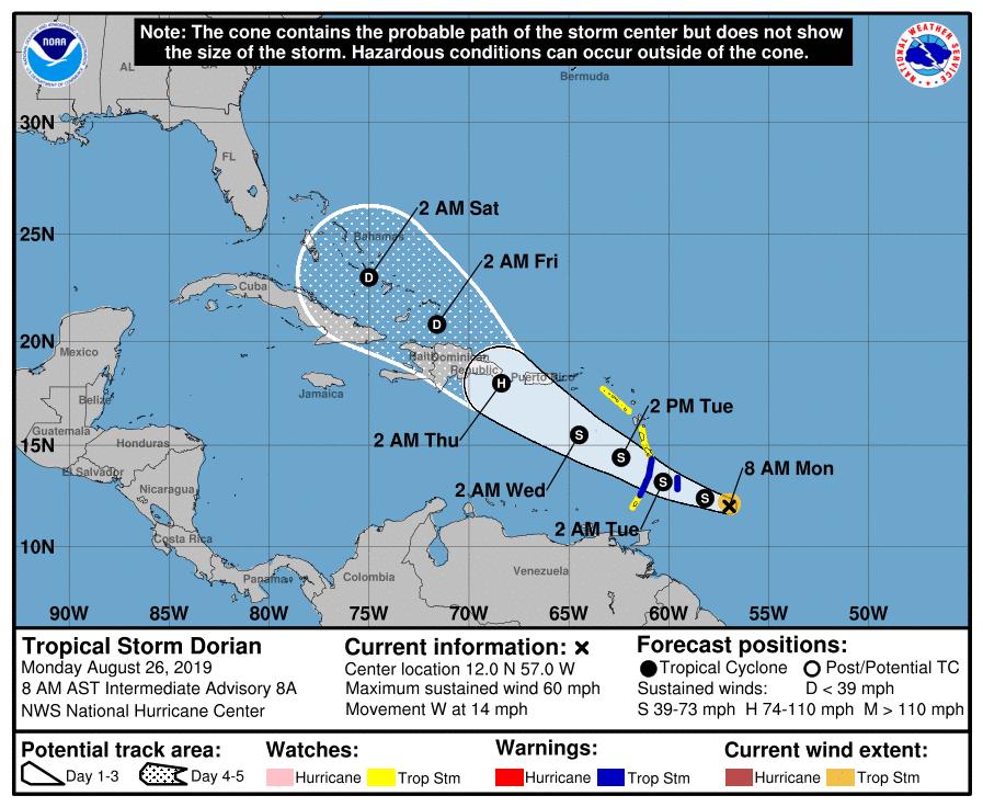 Dorian NHC Forecast Cone | August 26, 2019