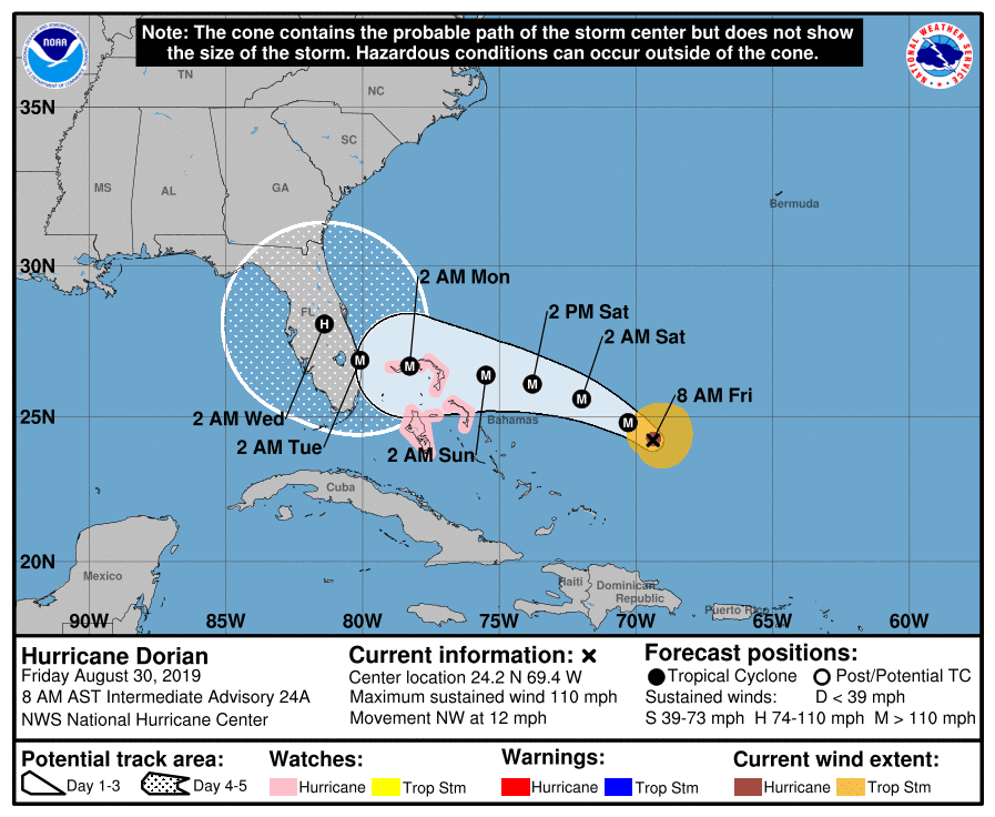 Hurricane Dorian NHC Cone | August 30, 2019, 8am ET
