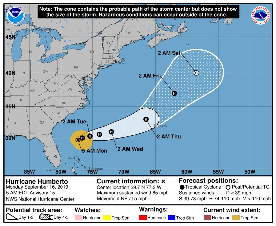 Humberto NHC Forecast Cone | September 16, 2019 5am ET