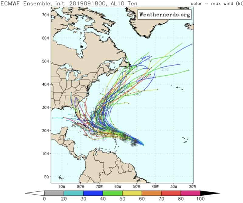 Jerry ECMWF Ensemble | September 18, 2019