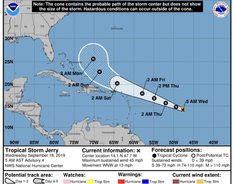 Jerry Forecast Cone | September 18, 2019, 5AM AST
