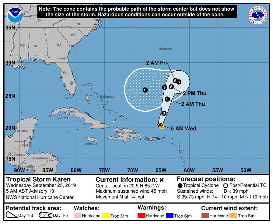 Karen NHC Forecast Cone | September 25, 2019 5am AST