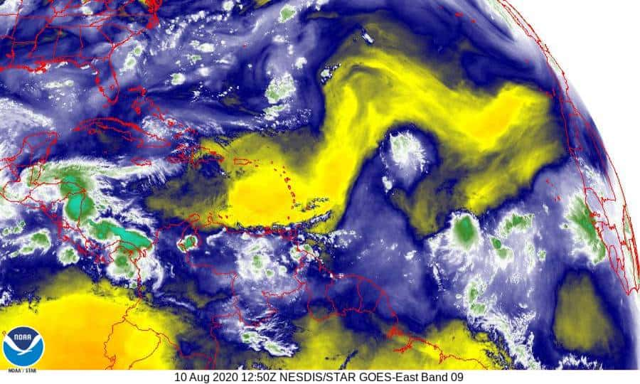 Band 9 - 6.9 µm - Mid-Level Water Vapor - IR - 10 Aug 2020 - 1250 UTC