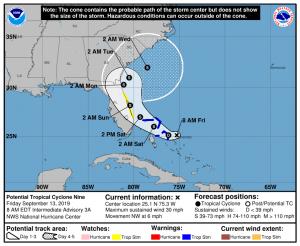 PTC9 NHC Forecast Cone | September 13, 2019 8am ET