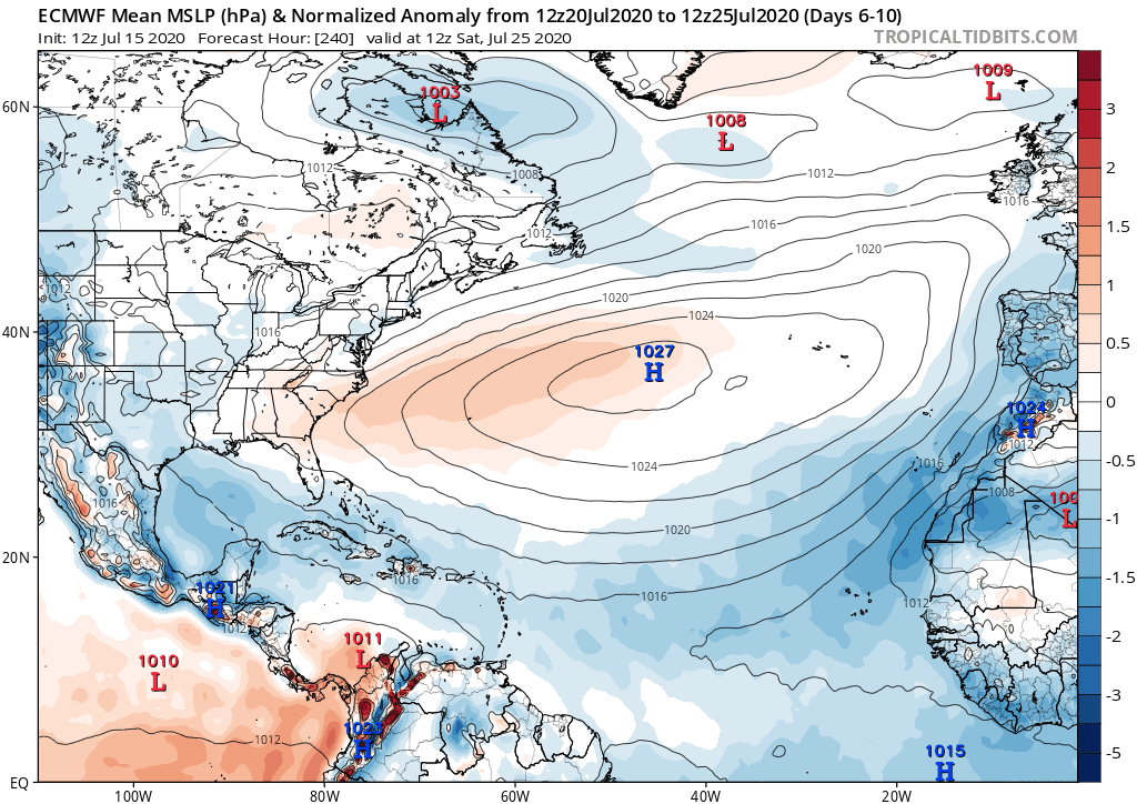 ECMWF Mean MSLP (hPa) & Normalized Anomaly from 7/20/2020 to 7/25/2020