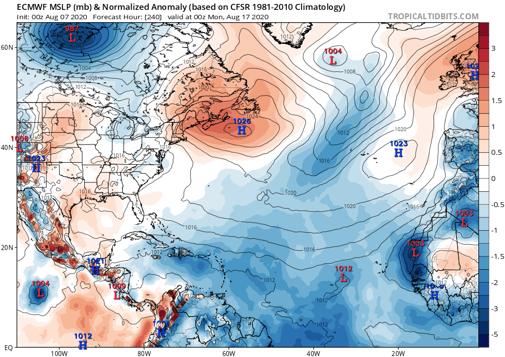 ECMWF MSLP (mb) & Normalized Anomaly (based on CFSR 1981-2010 Climatology | August 7, 2020
