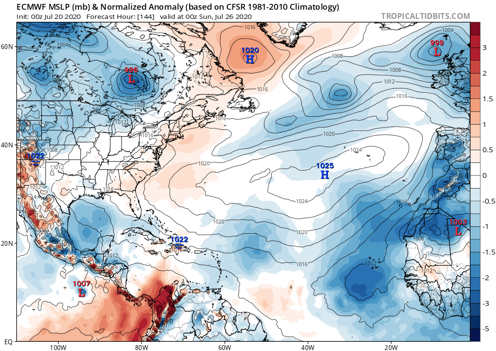 ECMWF MSLP (mb) & Normalized Anomaly | July 20, 2020