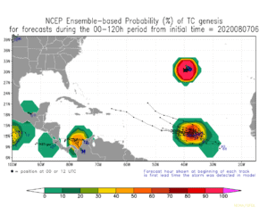 NCEP Ensemble-based Probability (%) of tropical cyclone genesis for forecasts during the 00-120h period | August 7, 2020, 6:00am