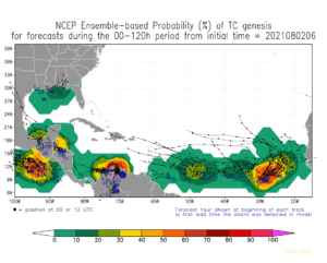 NCEP Ensemble-based Probability (%) of TC genesis | August 2, 2021