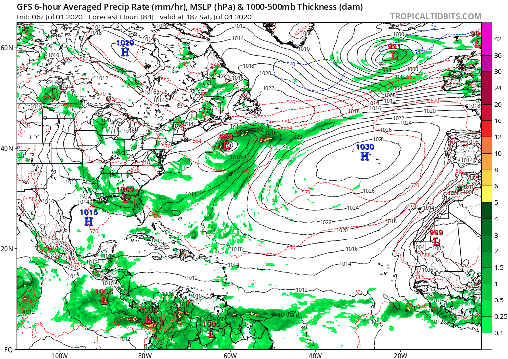GFS 6-hour Averaged Precip Rate (mm/hr), MSLP (hPa) & 1000-500mb Thickness (dam) - 7/4/2020