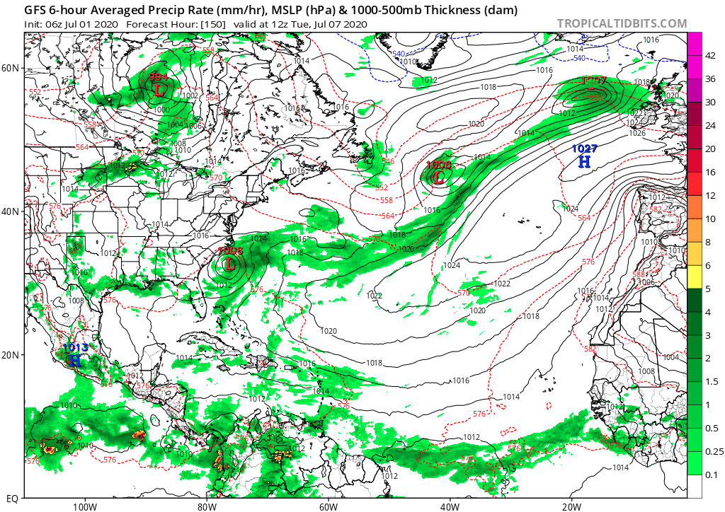 GFS 6-hour Averaged Precip Rate (mm/hr), MSLP (hPa) & 1000-500mb Thickness (dam) - 7/7/2020