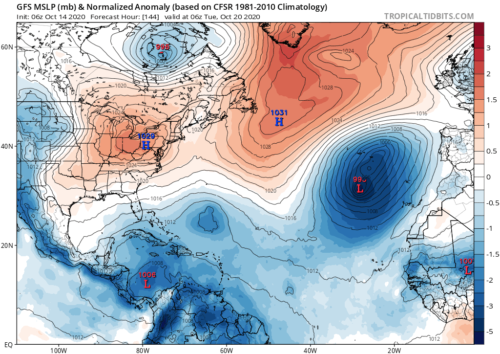 GFS MSLP (mb) & Normalized Anomaly | October 14, 2020