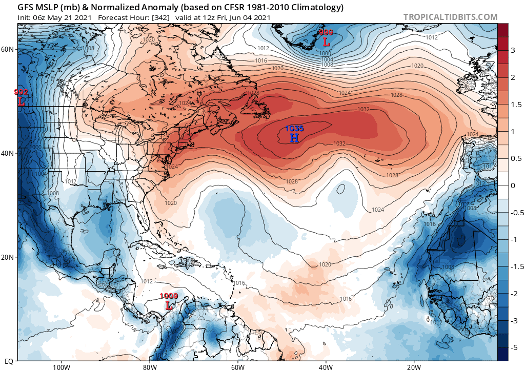 GFS MSLP (mb) & Normalized Anomaly