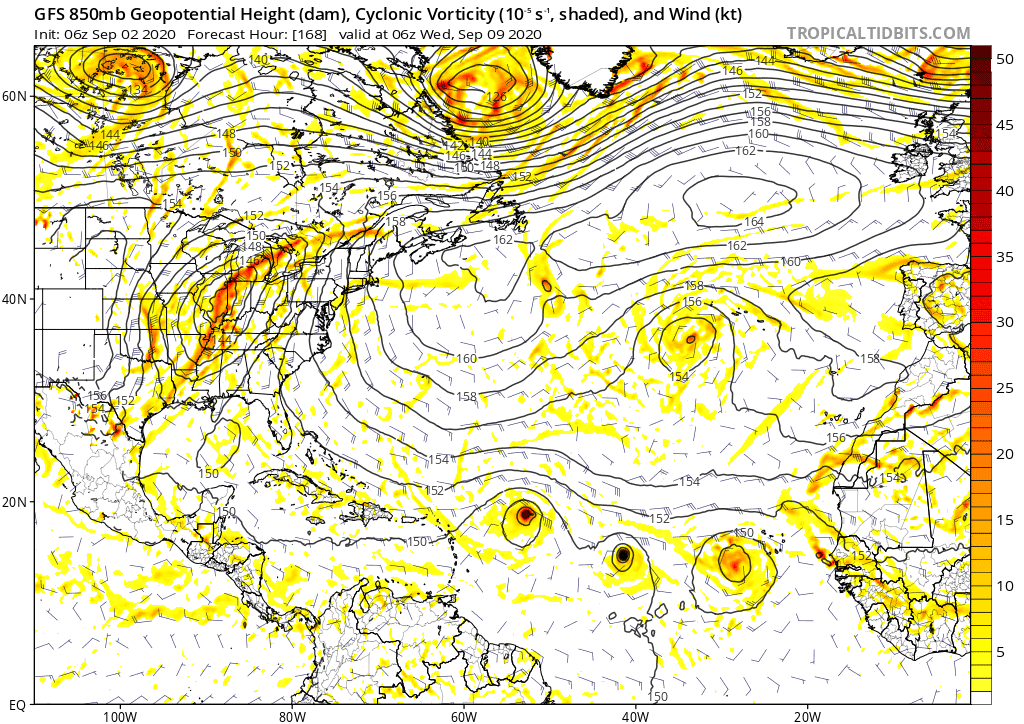 GFS 850mb Geopotential Height (dam), Cyclonic Vorticity | September 2, 2020