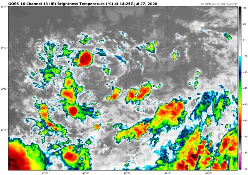 GOES-16 Channel 13 (IR) Brightness Temperature   July 27, 2020