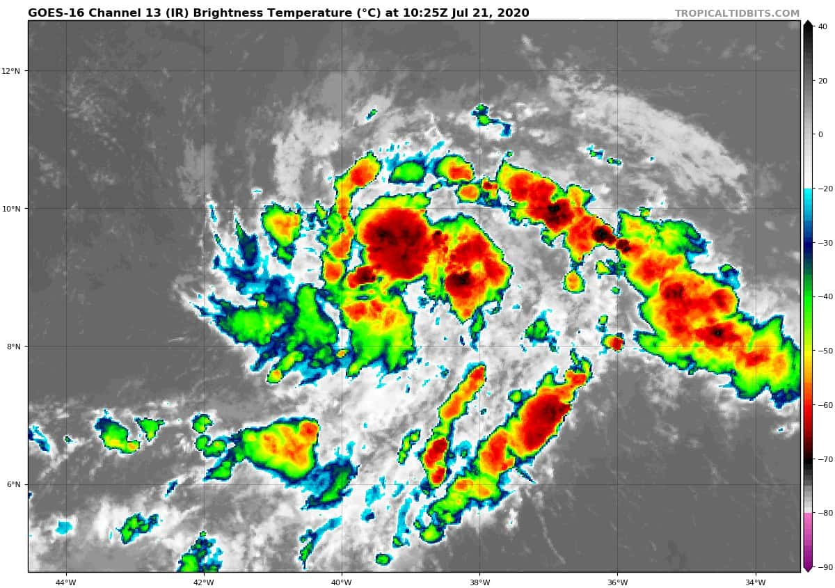 GOES-16 Channel 13 (IR) Brightness Temperature | July 21, 2020