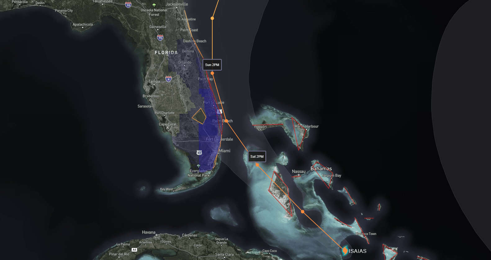 Isaias Forecast Path, Watches, & Warnings | July 28, 2020, 5pm ET