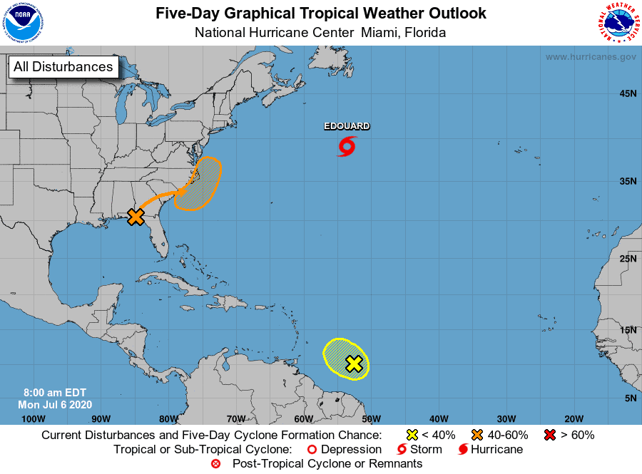 Five-Day Graphical Tropical Weather Outlook - July 6, 2020, 8am EDT