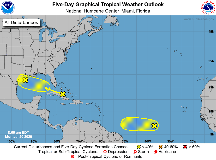 Five-Day Graphical Tropical Weather Outlook | July 20, 2020