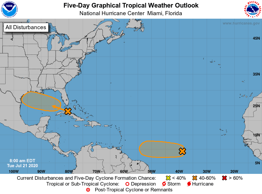 Five-Day Graphical Tropical Weather Outlook | July 21, 2020