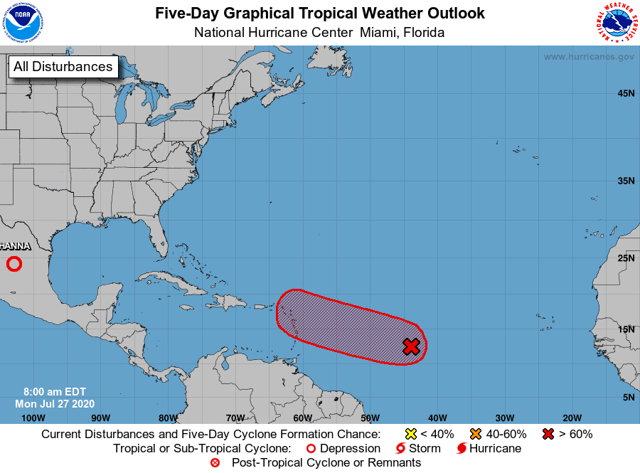 Five-Day Graphical Tropical Weather Outlook   July 27, 2020
