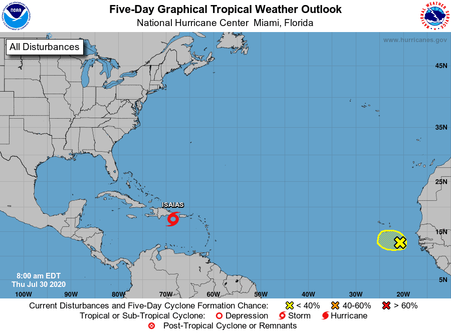 Five-Day Graphical Tropical Weather Outlook | July 30, 2020