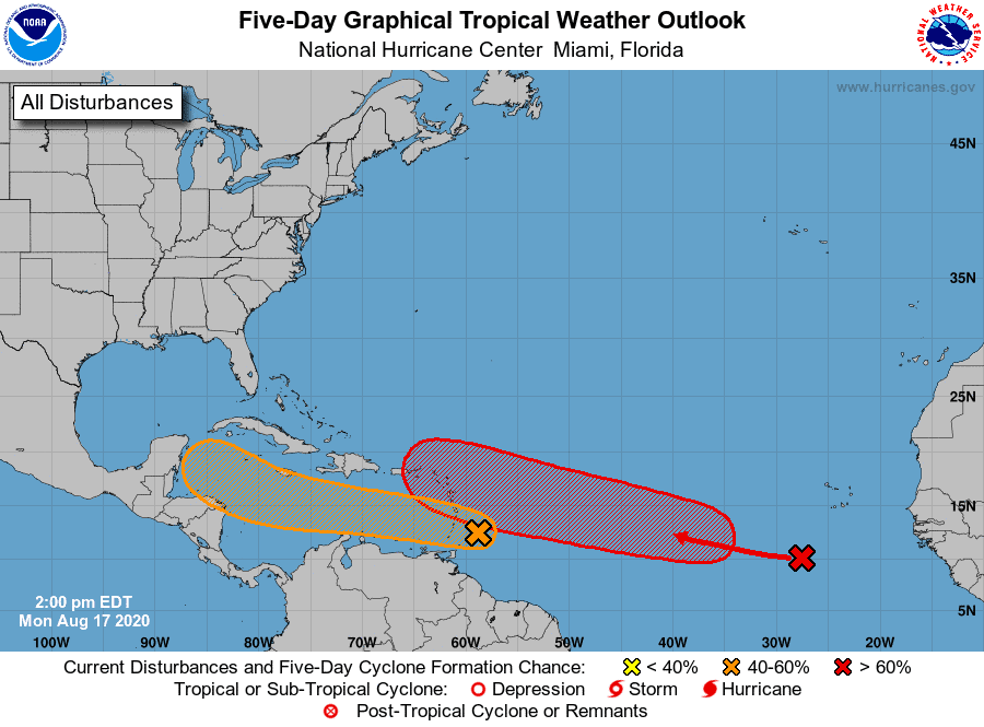 Five-Day Graphical Tropical Weather Outlook | August 17, 2020, 2:00pm ET
