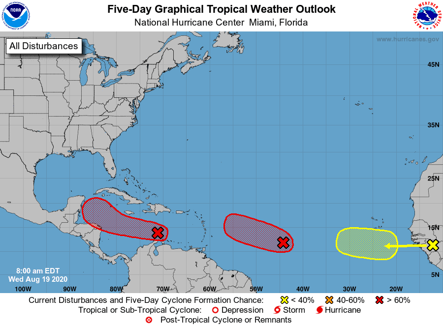 Five-Day Graphical Tropical Weather Outlook | August 19, 2020