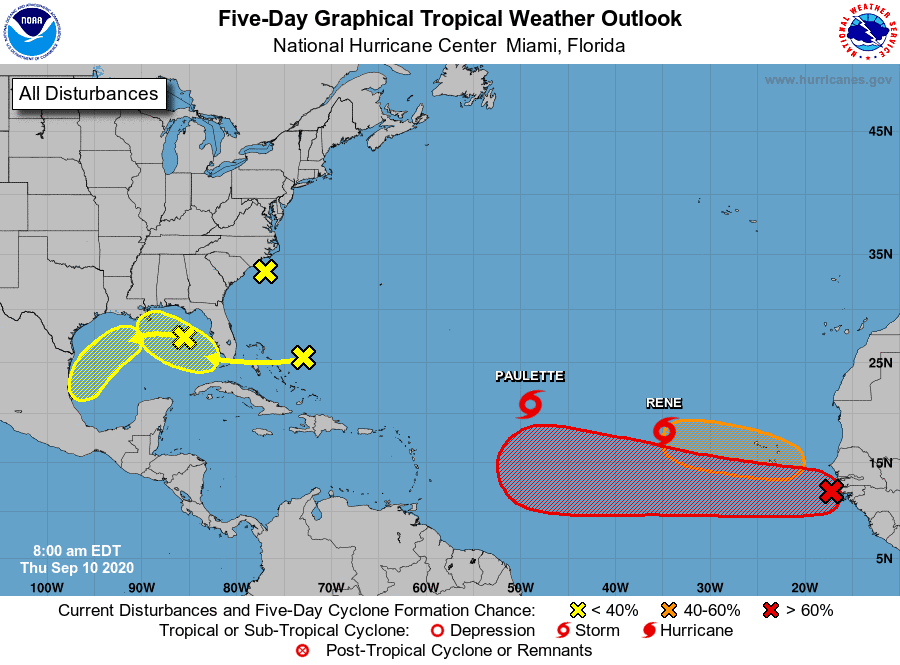Five-Day Graphical Tropical Weather Outlook | September 10, 2020