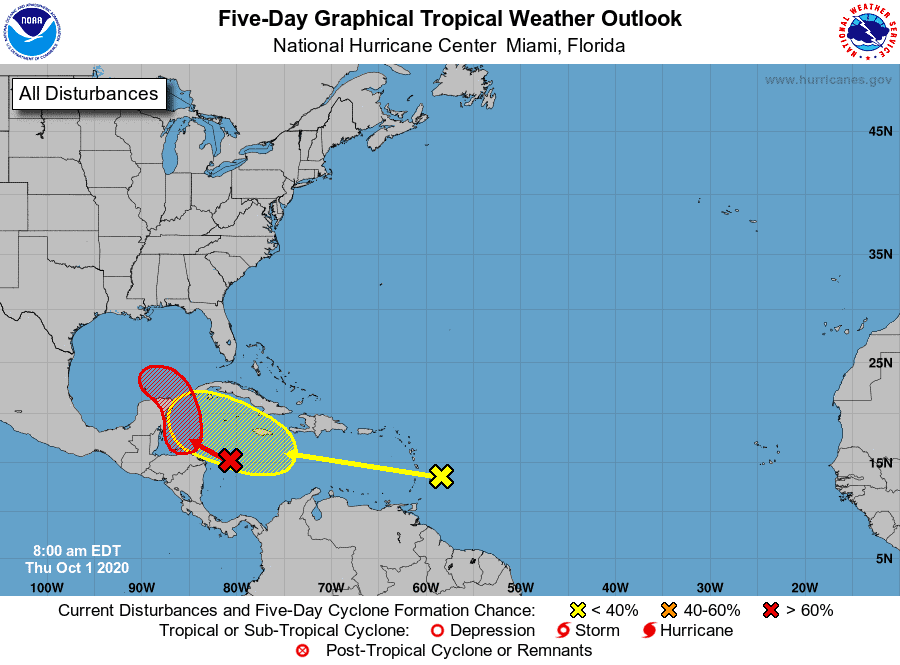 Five-Day Graphical Tropical Weather Outlook | October 1, 2020
