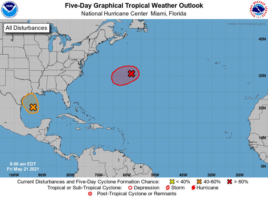 Five-Day Graphical Tropical Weather Outlook | May 21, 2021