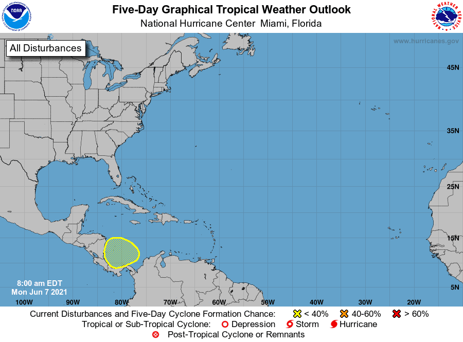 Five-Day Graphical Tropical Weather Outlook | June 7, 2021 8:00am EDT