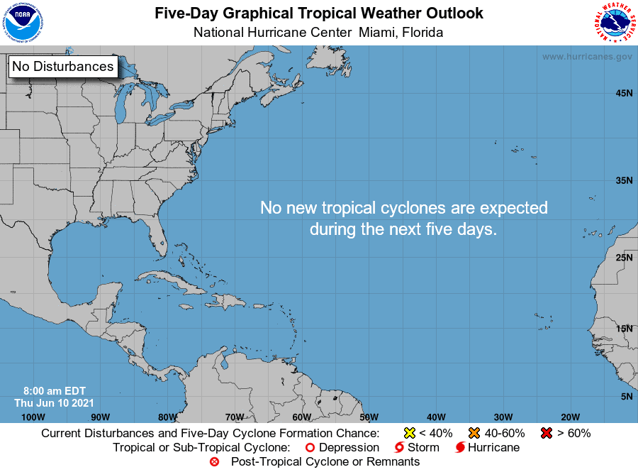 Five-Day Graphical Tropical Weather Outlook | June 10, 2021