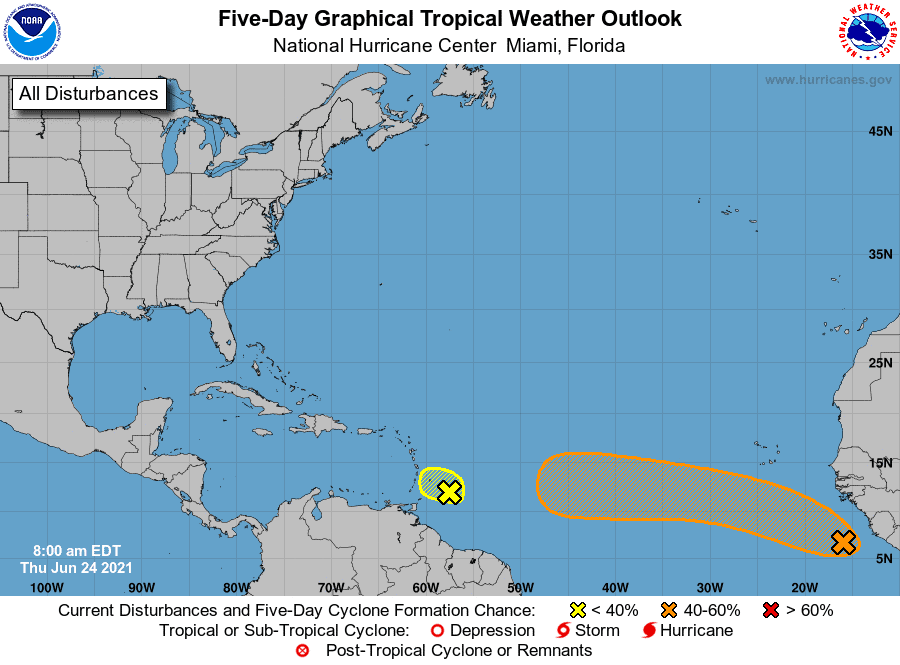 Five-Day Graphical Tropical Weather Outlook | June 24, 2021