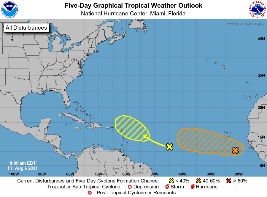 Five-Day Graphical Tropical Weather Outlook | August 6, 2021