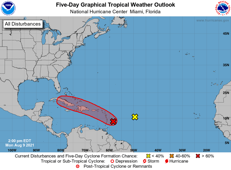 Five-Day Graphical Tropical Weather Outlook   August 9, 2021