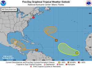 Five-Day Graphical Tropical Weather Outlook | August 24, 2021