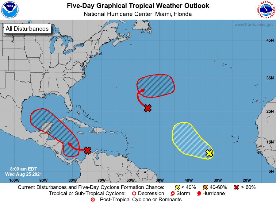 Five-Day Graphical Tropical Weather Outlook   August 25, 2021